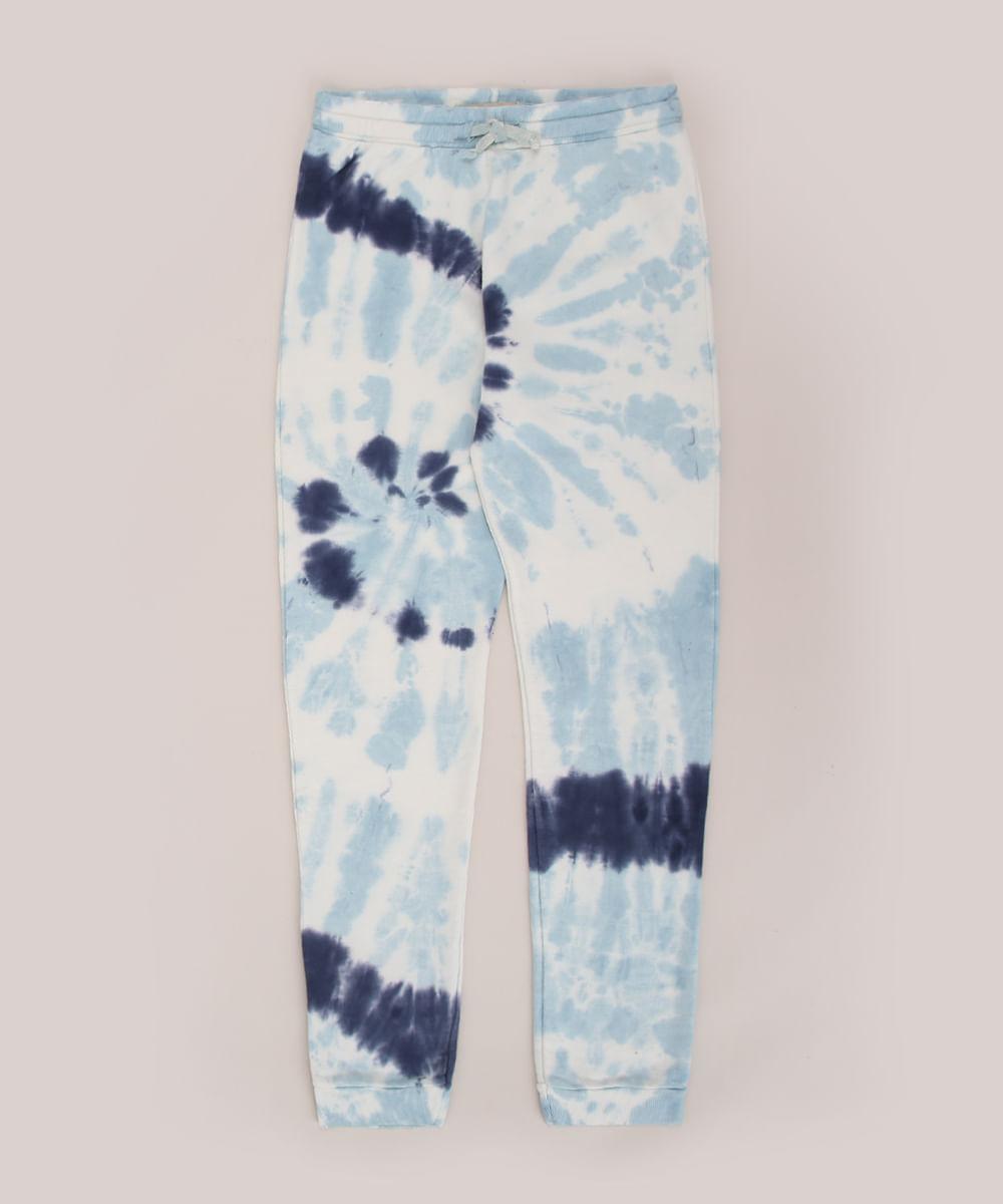 Calça de Moletom Juvenil Estampado Tie Dye com Bolsos Multicor