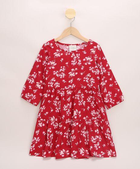 Vestido-Infantil-Estampado-Floral-Manga-3-4-Vermelho-9970677-Vermelho_1