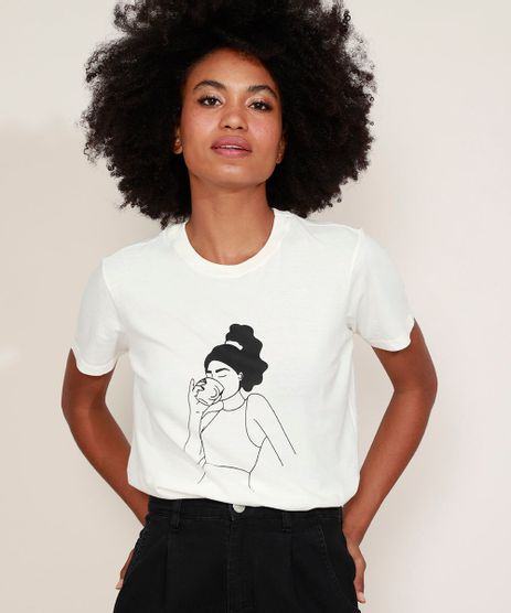 T-Shirt-Feminina-Mindset-Mulher-com-Xicara-Manga-Curta-Decote-Redondo-Off-White-9974957-Off_White_1