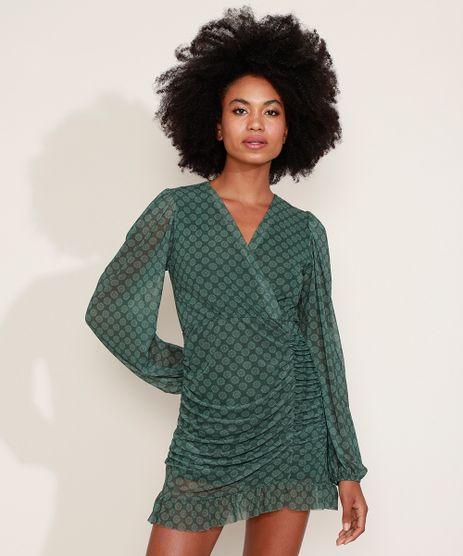 Vestido-de-Tule-Feminino-Mindset-Curto-Estampado-Floral-Manga-Bufante-Verde-Escuro-9975489-Verde_Escuro_1