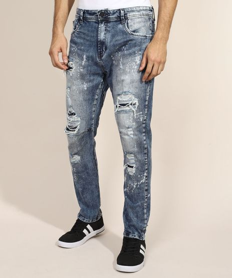 Calca-Jeans-Masculina-Reta-Destroyed-com-Bolsos-Azul-Medio-9971138-Azul_Medio_1