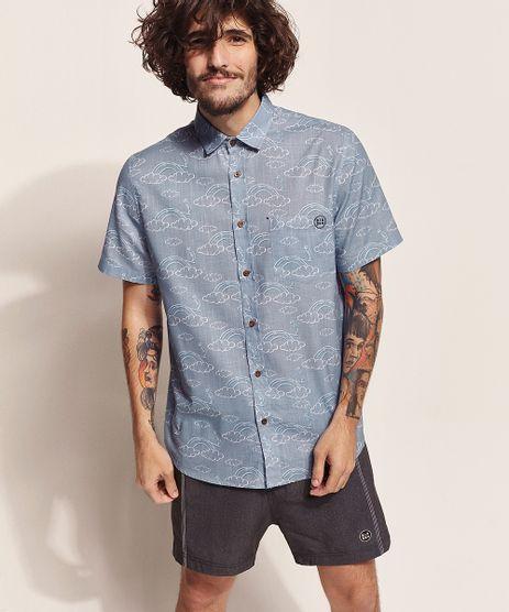 Camisa-Masculina-Birden-Tal-Pai-Tal-Filho-Nuvens-Manga-Curta-com-Bolso-Azul-Claro-9970462-Azul_Claro_1