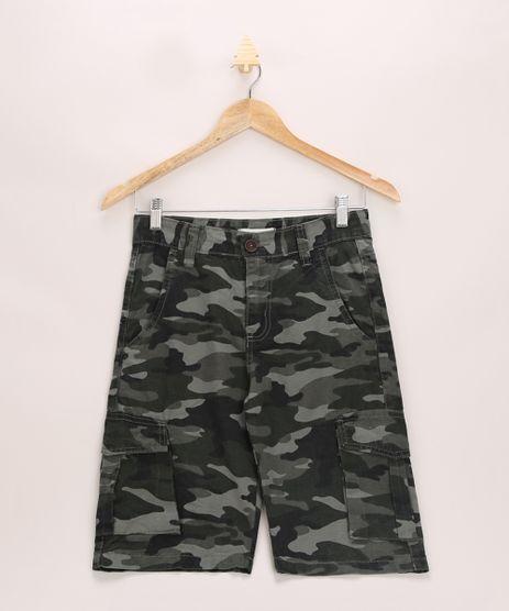 Bermuda-de-Sarja-Juvenil-Cargo-Estampada-Camuflada-com-Bolsos-Verde-Militar-9965960-Verde_Militar_1