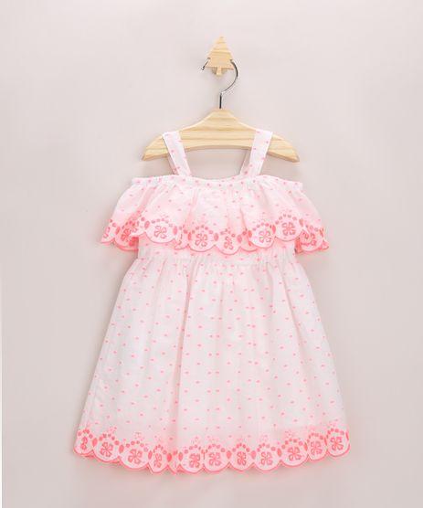 Vestido-Infantil-Estampado-Poa-Neon-com-Bordado-Branco-9953649-Branco_1