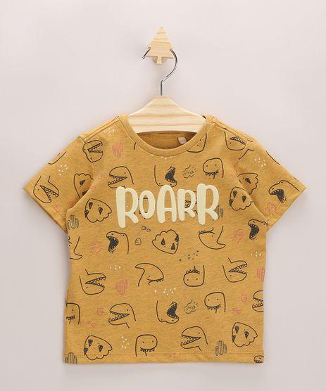 Camiseta-Infantil--Roarr--Estampada-de-Dinossauros-Manga-Curta-Amarela-9964048-Amarelo_1