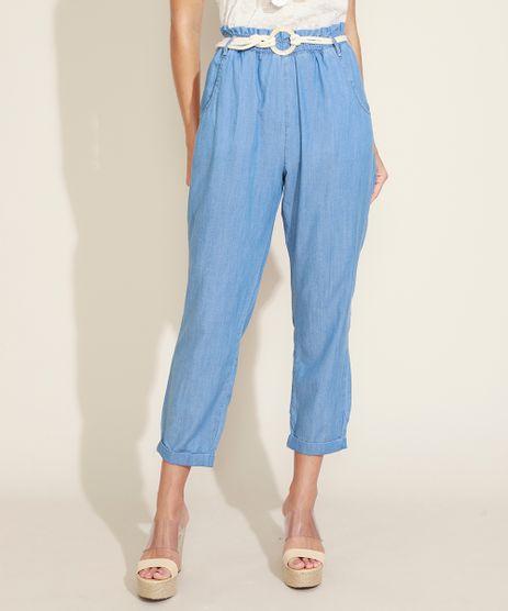 Calca-Jeans-Feminina-Clochard-Cintura-Alta-com-Cordao-para-Amarracao-Azul-Medio-9971160-Azul_Medio_1