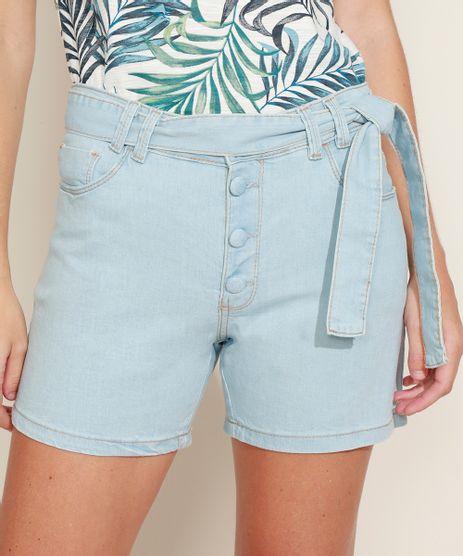 Short-Jeans-Feminino-Midi-Cintura-Alta-com-Bolsos-e-Cinto-Azul-Claro-9971583-Azul_Claro_1