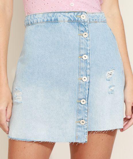 Saia-Jeans-Feminina-Curta-com-Botoes-Barra-a-Fio-Azul-Medio-9971816-Azul_Medio_1