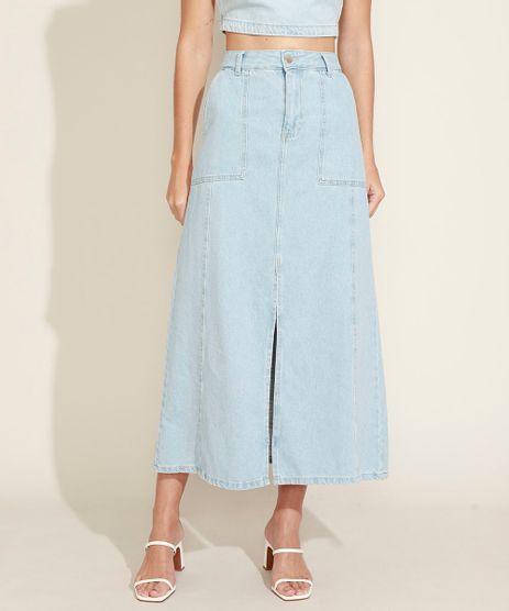 Saia-Jeans-Feminina-Longa-com-Fenda-Azul-Claro-9964537-Azul_Claro_1