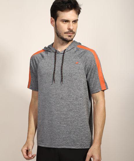 Camiseta-Masculina-Esportiva-Ace-com-Faixa-Lateral-e-Capuz-Manga-Curta-Cinza-Mescla-Escuro-9972168-Cinza_Mescla_Escuro_1