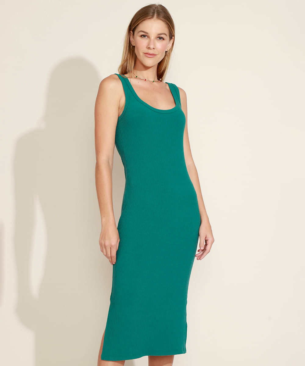 Vestido Feminino Midi com Fenda Alça Larga Decote Redondo Verde