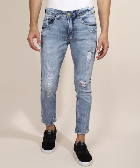 Calca-Jeans-Masculina-Skinny-Cropped-Destroyed-Azul-Claro-9968639-Azul_Claro_1