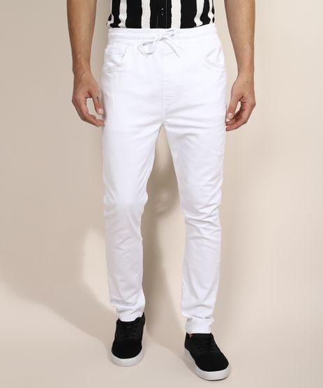 Calca-de-Sarja-Masculina-Jogger-Skinny-com-Cordao-Branca-9966783-Branco_1