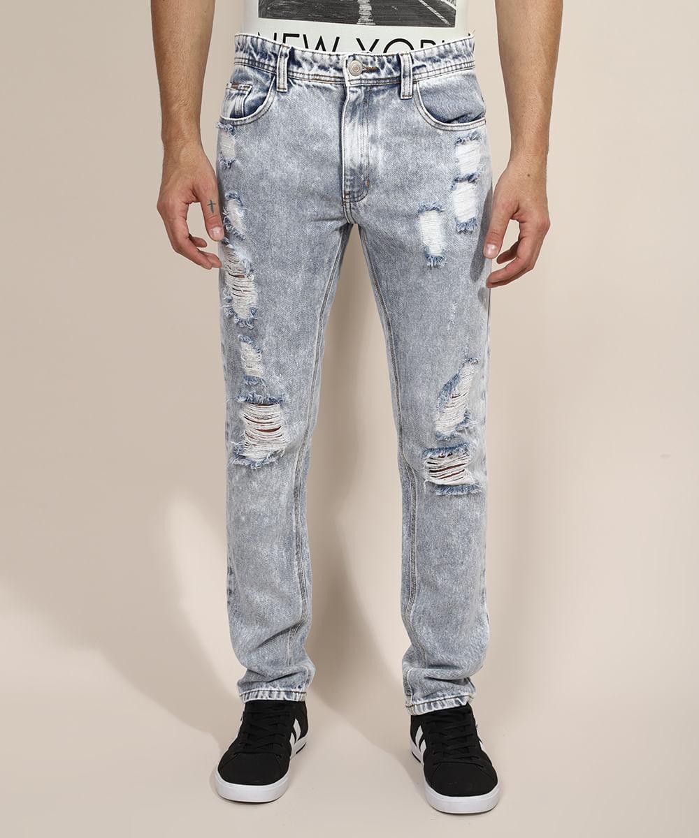 Calça Jeans Masculina Slim Destroyed Marmorizada Azul Claro