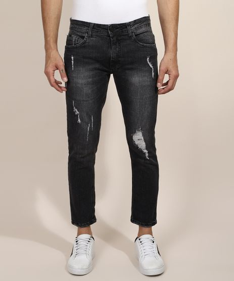 Calca-Jeans-Masculina-Slim-Cropped-Destroyed-Preta-9944004-Preto_1