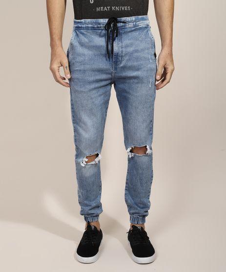Calca-Jeans-Masculina-Jogger-Skinny-Destroyed-com-Cordao-Azul-Medio-9968743-Azul_Medio_1
