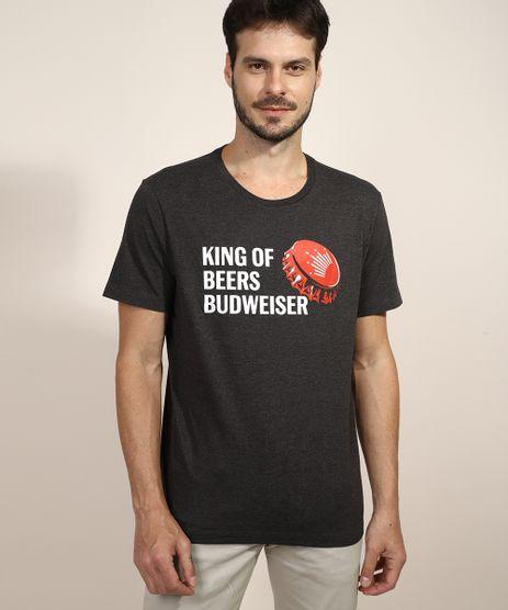 Camiseta-Masculina-Budweiser--King-of-Beers--Manga-Curta-Gola-Careca-Cinza-Mescla-Escuro-9968749-Cinza_Mescla_Escuro_1