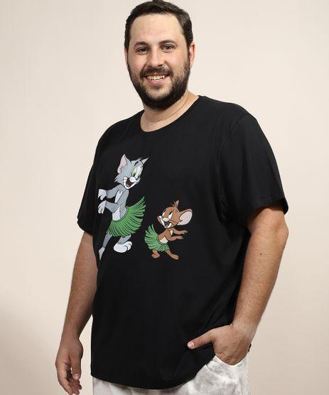 Camiseta-Masculina-Plus-Size-Tom-e-Jerry-Hula-Manga-Curta-Gola-Careca-Preta-9968114-Preto_1