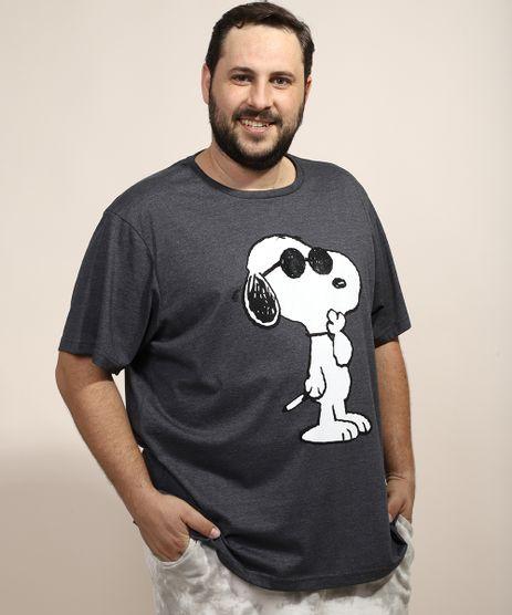 Camiseta-Masculina-Plus-Size-Snoopy-Manga-Curta-Gola-Careca-Cinza-Mescla-Escuro-9974304-Cinza_Mescla_Escuro_1