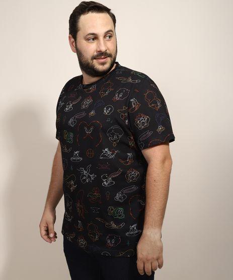 Camiseta-Masculina-Plus-Size-Looney-Tunes-Estampada-Manga-Curta-Gola-Careca-Preta-9968102-Preto_1