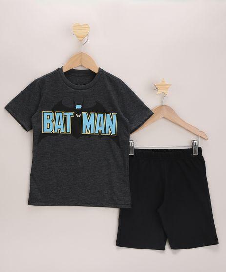 Conjunto-Infantil-de-Camiseta-Batman-Manga-Curta-Cinza-Mescla-Escuro---Bermuda-de-Moletom-Preta-9968177-Preto_1