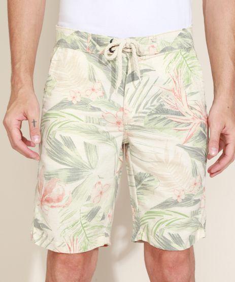 Bermuda-Masculina-Reta-Estampada-Floral-com-Bolso-e-Cadarco-Bege-Claro-9967092-Bege_Claro_1