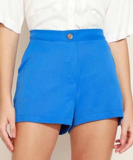 Short-Feminino-Alfaiatado-com-Textura-Cintura-Alta-com-Elastico-e-Bolsos-Azul-9969336-Azul_1