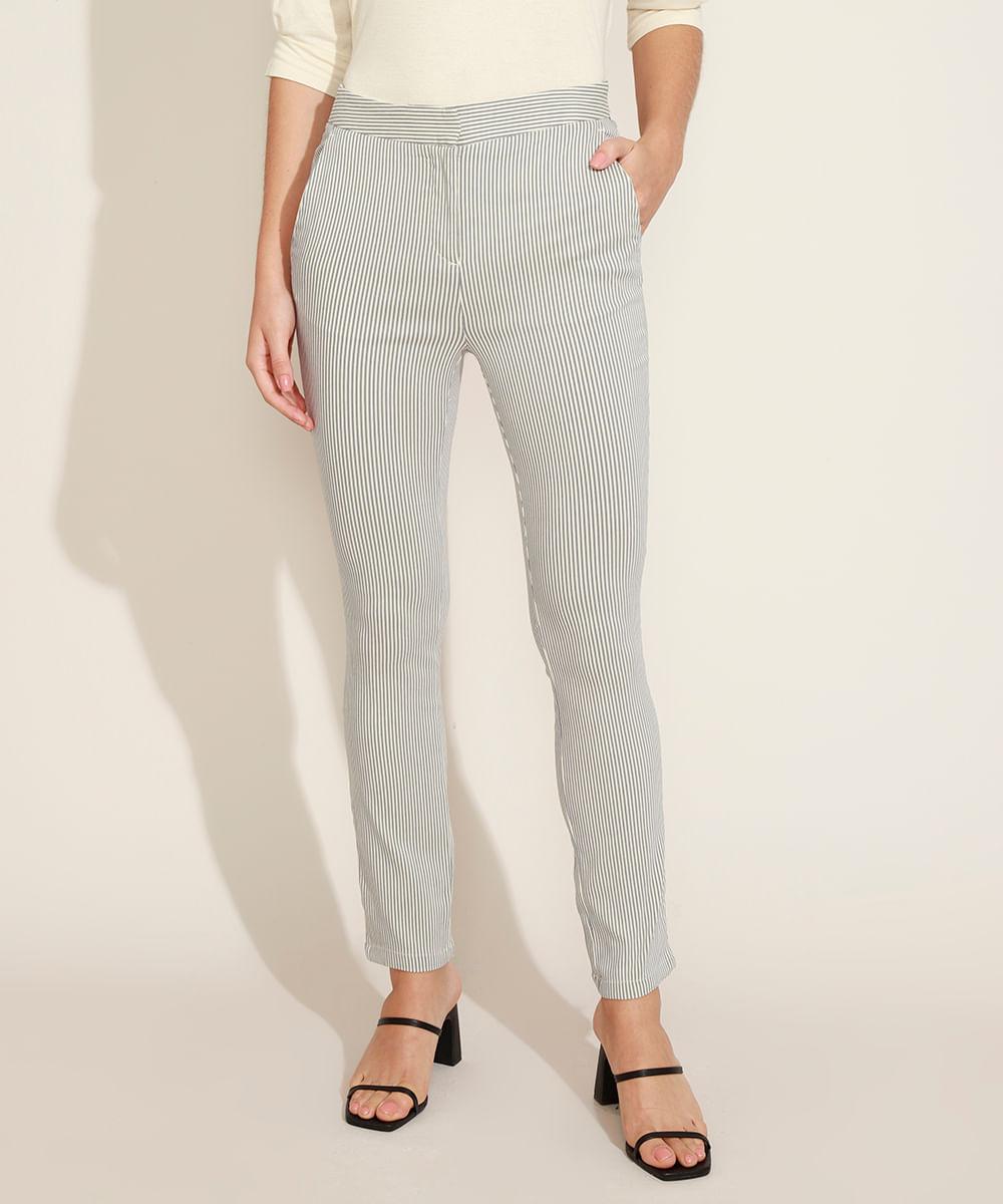 Calça Feminina Estampada Listrada Reta Alfaiatada Cintura Média com Bolsos Off White