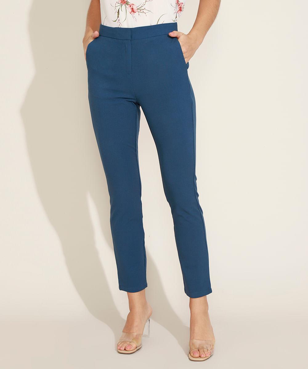 Calça Feminina Reta Alfaiatada Cintura Média com Bolsos Azul Escuro
