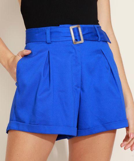 Short-Feminino-Alfaiatado-com-Textura-Cintura-Alta-e-Cinto-com-Fivela-Azul-9956277-Azul_1