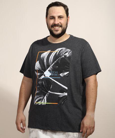 Camiseta-Masculina-Plus-Size-Folhas--Tropical-Paradise--Manga-Curta-Gola-Careca-Cinza-Mescla-Escuro-9967395-Cinza_Mescla_Escuro_1