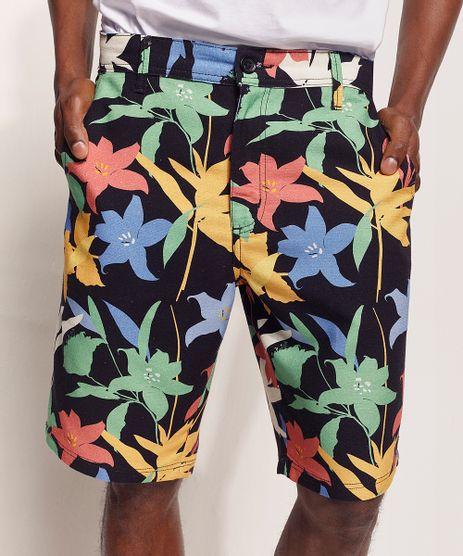 Bermuda-Masculina-de-Sarja-Tal-Pai-Tal-Filho-Pipe-Floral-com-Bolsos-Preta-9970120-Preto_1