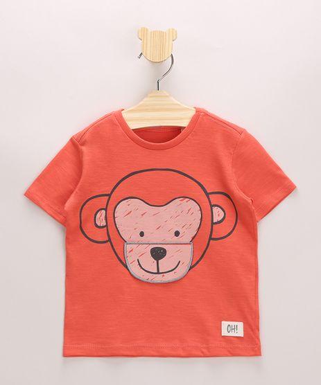 Camiseta-Infantil-em-Flame-Macaco-Interativo-Manga-Curta-Laranja-9969680-Laranja_1