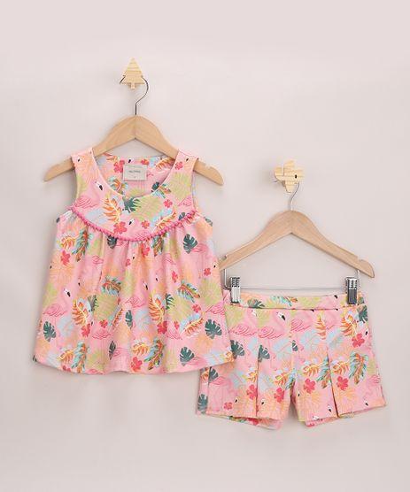 Conjunto-Infantil-Texturizado-Estampado-de-Flamingos-Blusa-Alca-Larga---Short-com-Pregas-Rosa-9966540-Rosa_1