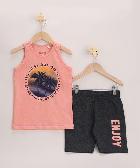 Conjunto-Infantil--Enjoy--de-Regata-Coral---Bermuda-em-Moletom-Cinza-Mescla-Escuro-9967970-Cinza_Mescla_Escuro_1