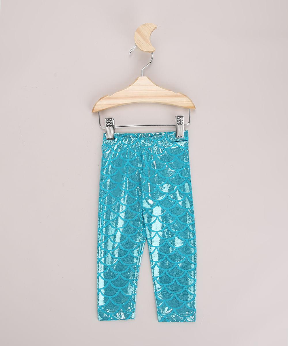 Calça Legging Infantil Estampado de Sereia com Brilho Verde Água