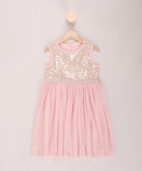 Vestido-Infantil-com-Paetes-e-Plissado-Alca-Larga-Decote-Redondo-Rosa-9953850-Rosa_1