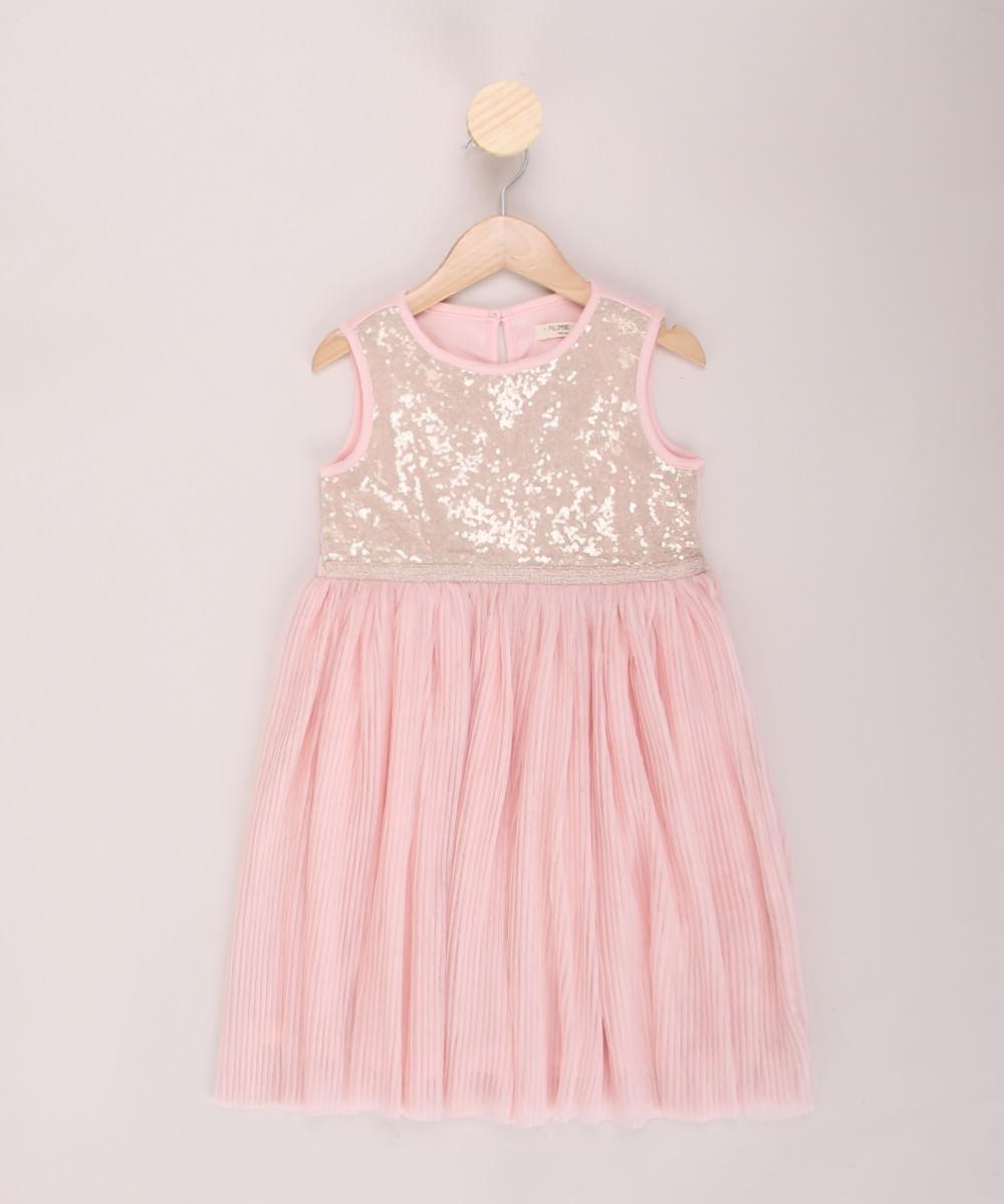 Vestido Infantil com Paetês e Plissado Alça Larga Decote Redondo Rosa
