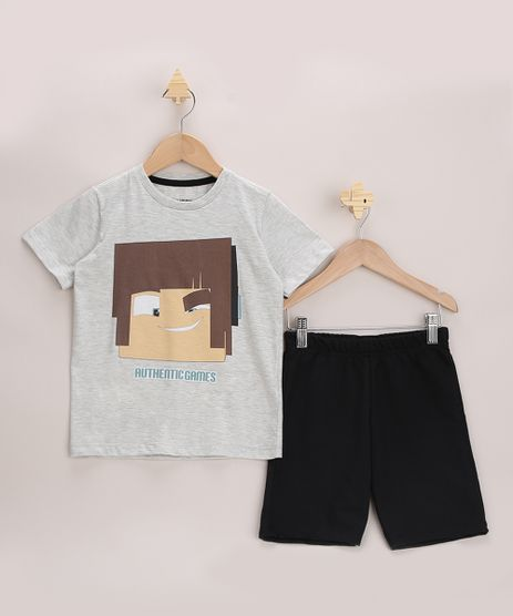 Conjunto-Infantil-Authentic-Games-de-Camiseta-Cinza-Mescla-Claro---Bermuda-em-Moletom-Cinza-Mescla-9968191-Cinza_Mescla_1