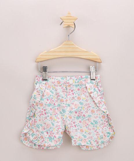 Short-de-Sarja-Infantil-Estampado-Floral-com-Babado-Branco-9948369-Branco_1
