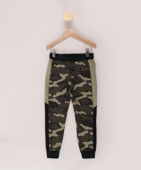 Calca-de-Moletom-Infantil-Jogger-Estampada-Camuflada-com-Recortes-Verde-Militar-9970291-Verde_Militar_1