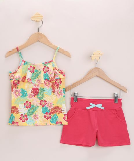 Conjunto-Infantil-de-Regata-Estampada-Floral-Alca-Fina-Amarela---Short-com-Laco-Pink-9968649-Pink_1