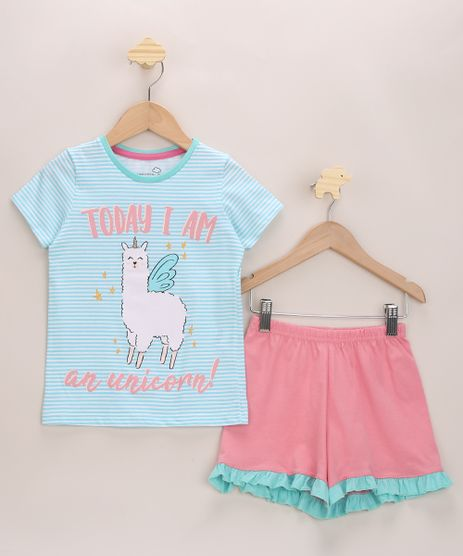 Pijama-Infantil-Lhama-Unicornio-com-Listras-e-Babado-Azul-Claro-9964013-Azul_Claro_1