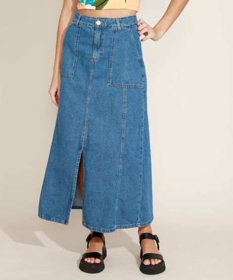 Saia-Jeans-Feminina-Longa-com-Recortes-e-Fenda-Azul-Medio-9964539-Azul_Medio_1