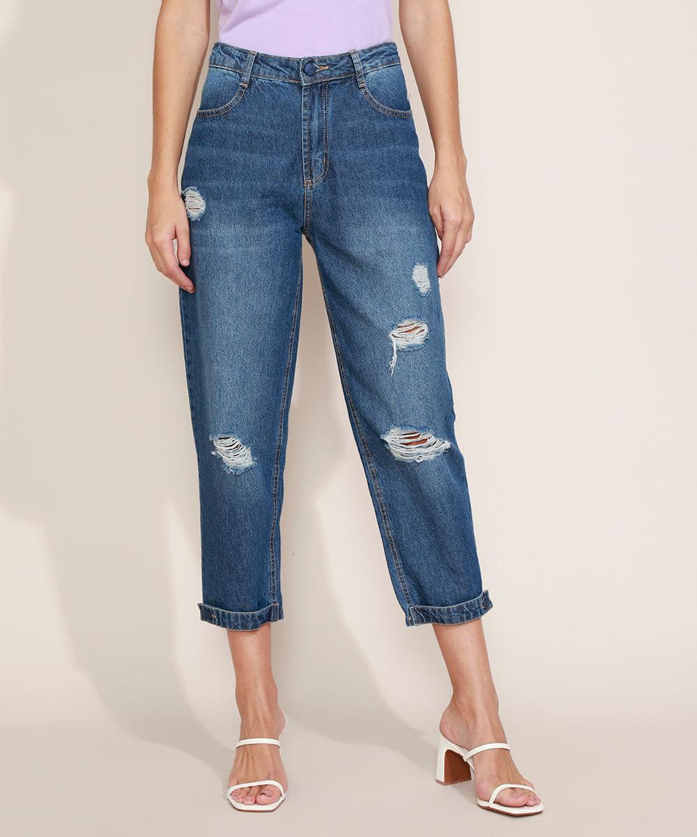 Calça Jeans Feminina Sawary Baggy Cintura Média Destroyed com Martingale Azul Escuro