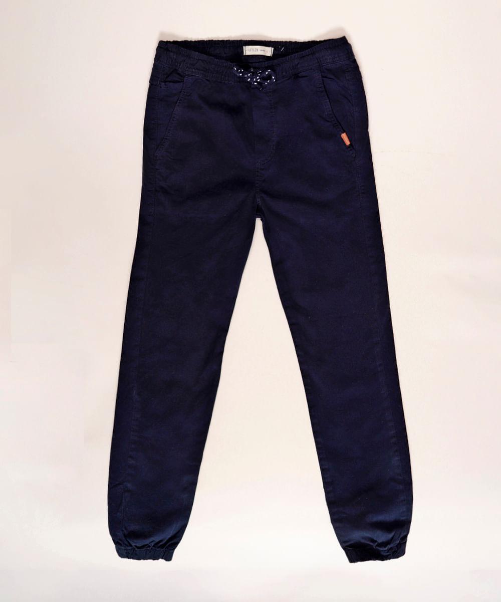 Calça Juvenil de Sarja Jogger com Bolsos Azul Marinho