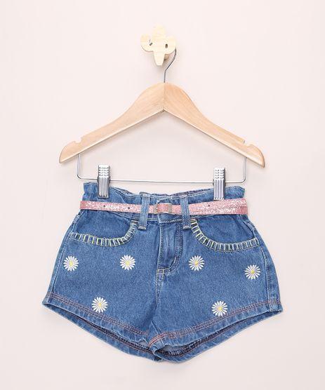 Short-Jeans-Infantil-com-Bordado-de-Margaridas-e-Cinto-Azul-Medio-9965682-Azul_Medio_1