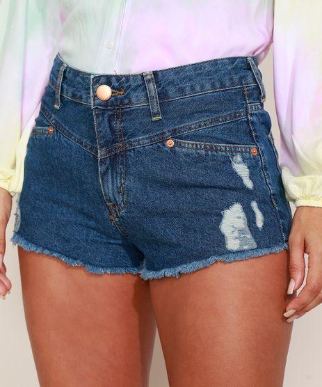 Short-Jeans-Feminino-Reto-Cintura-Alta-Lateral-Curta-Destroyed-Azul-Escuro-9975158-Azul_Escuro_1