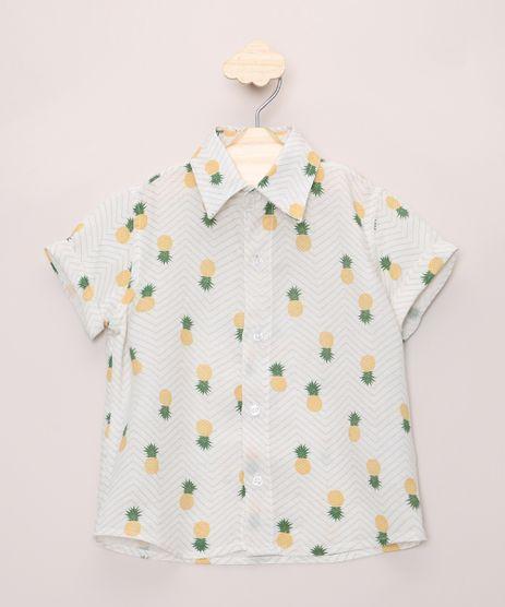 Camisa-Infantil-Estampada-de-Abacaxis-e-Chevron-Manga-Curta-Dobrada-Off-White-9966382-Off_White_1