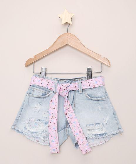 Short-Jeans-Infantil-Destroyed-com-Faixa-Floral-e-Bolsos-Azul-Claro-9965679-Azul_Claro_1